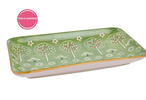 Hand painted Green Tree Snack Plate