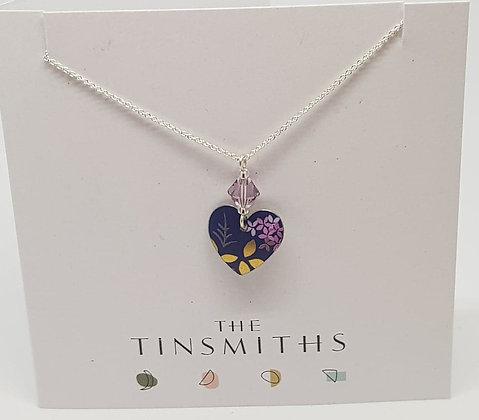 Kate HH Studio Kyoto Garden Blue Purple Small Heart Necklace