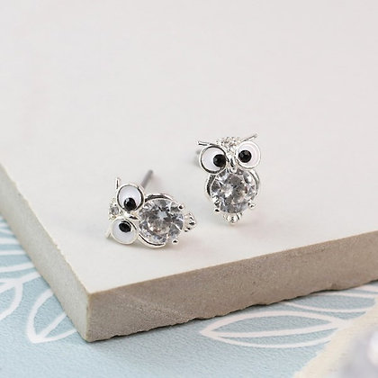 Silver plated owl stud earrings with crystal and enamel detail