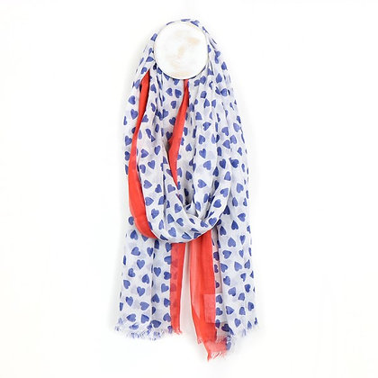 BLUE HEART PRINT COTTON SCARF WITH RED/ORANGE  BORDER