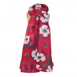 Retro Poppies Scarf - Red
