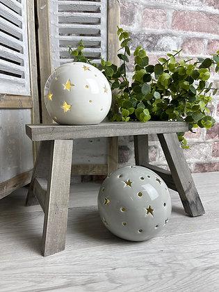 Ceramic LED Ball with stars - choice of 2