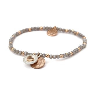 Grey bead bracelet with a rose gold heart disc charm 02427
