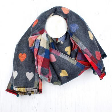 Grey and pink mix multi hearts winter scarf