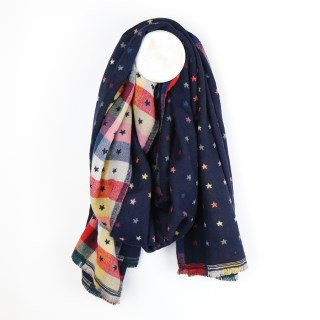 NAVY MULTICOLOURED TINY STAR JACQUARD SCARF