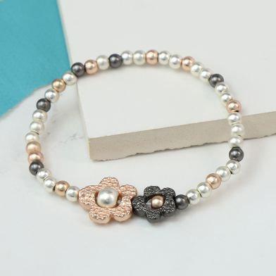 Mixed Metallic Double Flower Bracelet