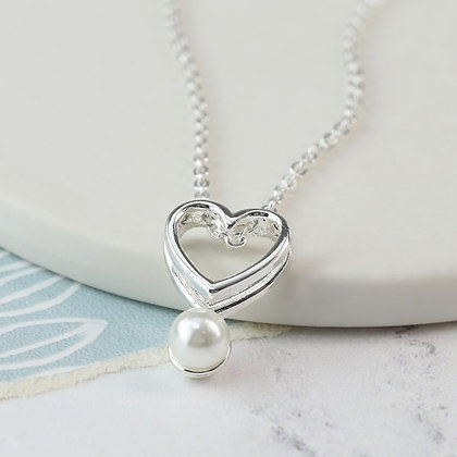 Silver plated double heart necklace with white pearl