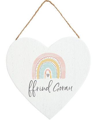 Welsh Rainbow hanging heart - Ffrindiau Gorau (Best Friends)