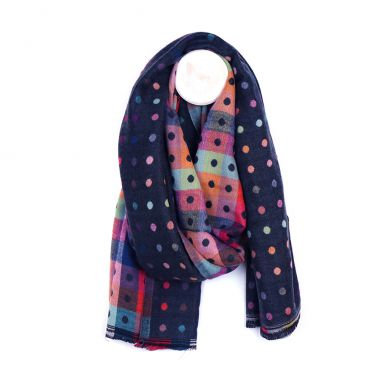 Navy mix jacquard dotty scarf