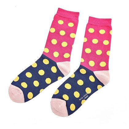 Miss Sparrow Bamboo Spotty Socks Pink/Navy