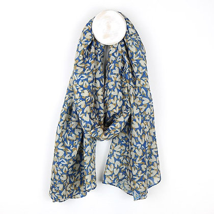 Blue recycled scarf with layered multi heart print