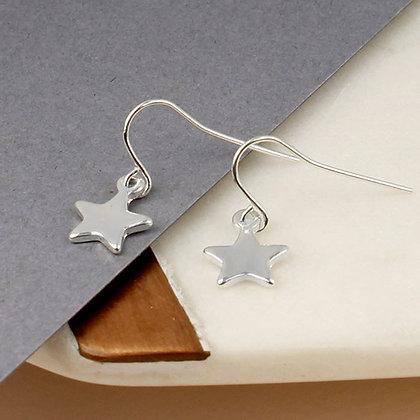 Silver Plated Little Star Drop Earrings
