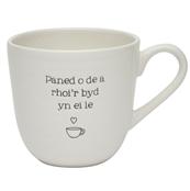 Mwg Cymraeg 'Paned o de a rhoi'r byd yn ei le' Welsh Mug