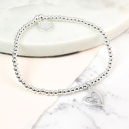Silver plated bead and grey enamel heart bracelet