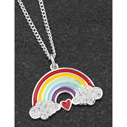 Colourful Rainbow Silver Plated Cloud Heart Rainbow Necklace