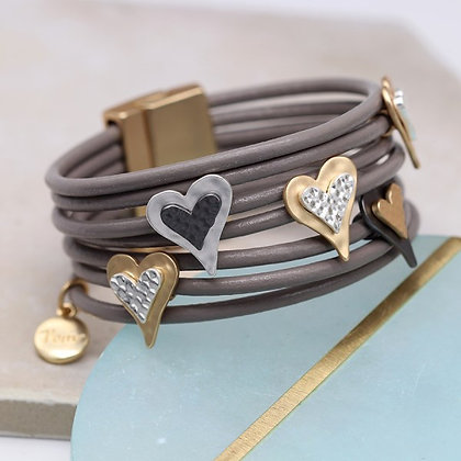 Multi strand leather bracelet with mixed metallic hearts 03245