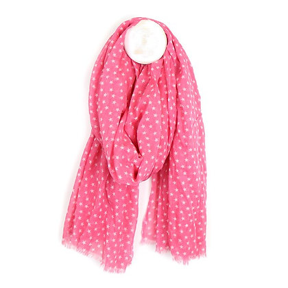 Pink cotton scarf with white multi star print