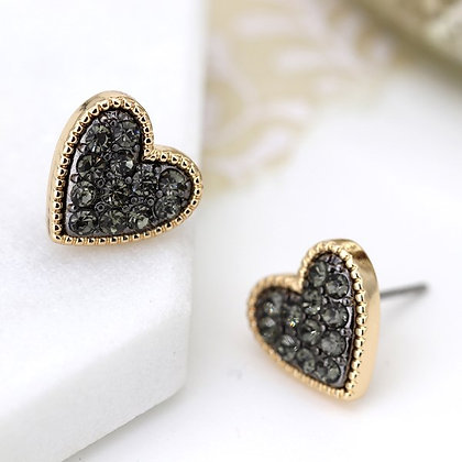 Gold plated heart stud earrings with black crystal centre 03220