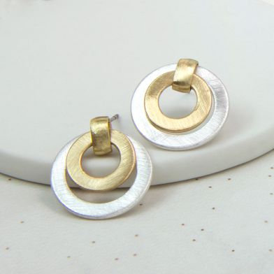 POM Mixed Silver And Gold Finish Circle Earrings