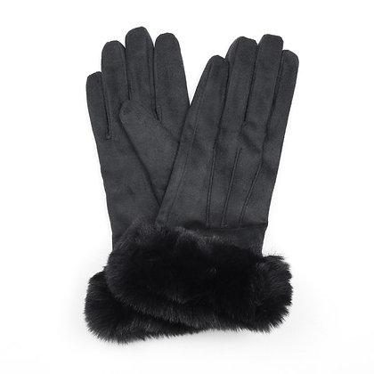 Black faux suede glove with faux fur trim