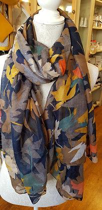 Mustard/Teal multi overlap leaf print scarf