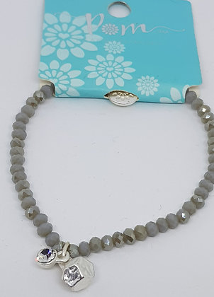 Grey bead and silver plated nugget bracelet