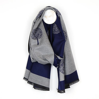 Navy and grey reversible jacquard tree scarf
