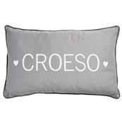 Croeso (Welcome) grey long cushion