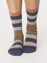 Bamboo Socks by Thought - Ladies 4-7 - Pewter -Stripe