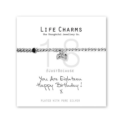 Life Charms Silver Plated Bracelet - You are Eighteen Happy Birthday!