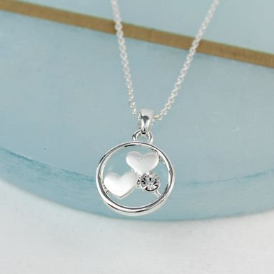 POM Silver plated circle, double heart and crystal necklace