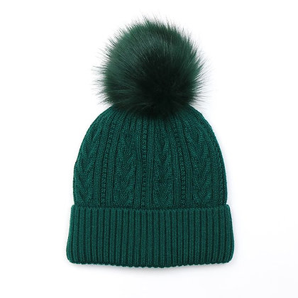 Cable knit winter hat in bottle green with matching soft faux fur bobble