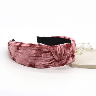 Pink mix velvet fabric headband