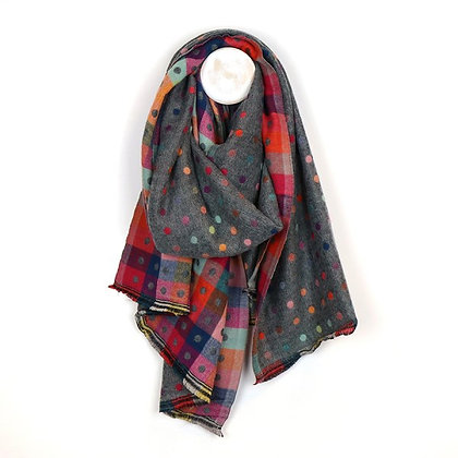 Dark grey multicoloured reversible jacquard dotty scarf