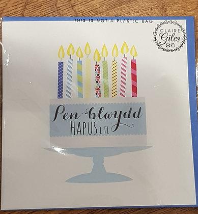 """Carden """"Penblwydd Hapus I ti"""" Card  (Happy Birthday) Blue cake"""