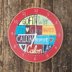 Driftwood Design Y Cloc Cymraeg Gofyn Wyf/Clock