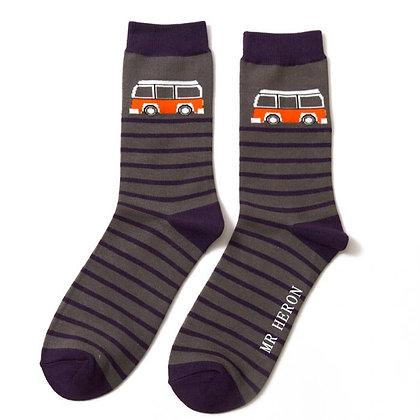 Mr Heron Bamboo Socks - Camper Stripe Grey Mens