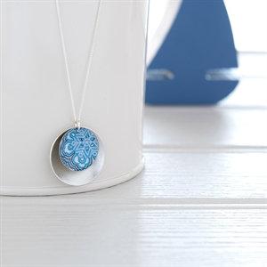 Kate HH Studio Damask Blue Double Disc Necklace