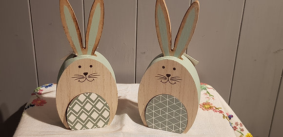 Wooden Rabbit with Cut Out Shape - choice of 2 designs