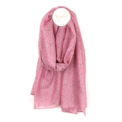 Dusky pink scarf with metallic rose gold spot print