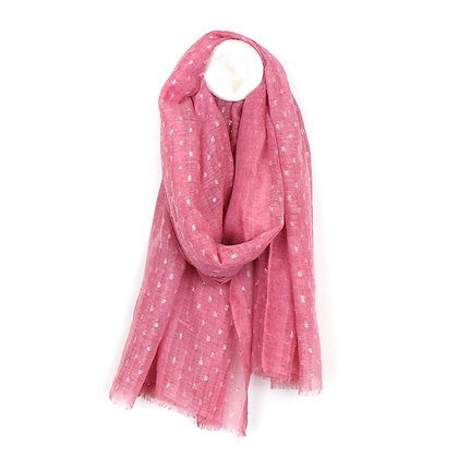 Washed pink scarf with metallic silver dash pattern
