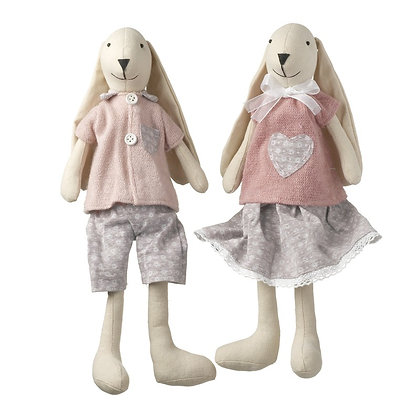 Sitting Boy /Girl Rabbit - Pink and Grey
