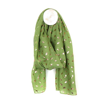 Pistachio green scarf with metallic rose gold oak leaf print