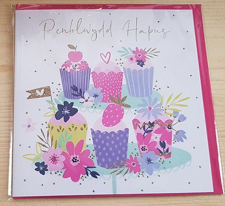 "Carden ""Penblwydd Hapus"" Card  (Happy Birthday) Cupcakes"
