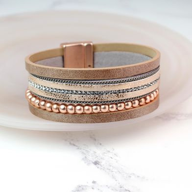 Blush leather bracelet with rose gold beads and crystals