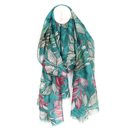 Teal and pink botanical print scarf with gold detail