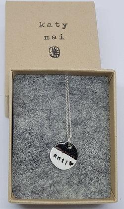 Katy Mai - Mwclis Cymraeg Mini Crwn / Mini Round Welsh Necklace - Anti