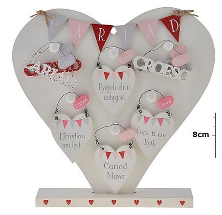 Welsh Cariad (Love) hanging signs