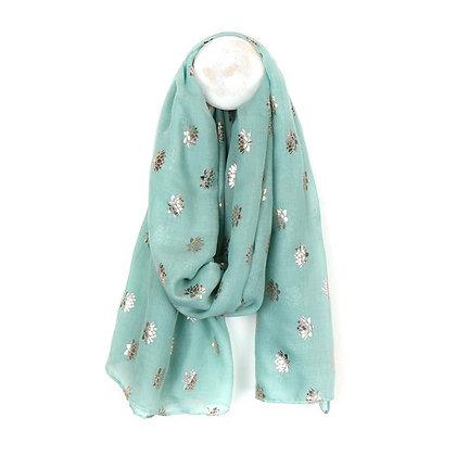 Mint Green scarf with metallic rose gold lotus flower print
