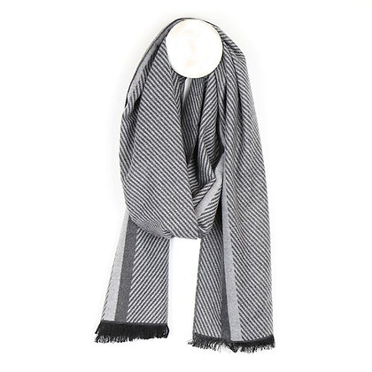 Men's grey mix herringbone stripe scarf